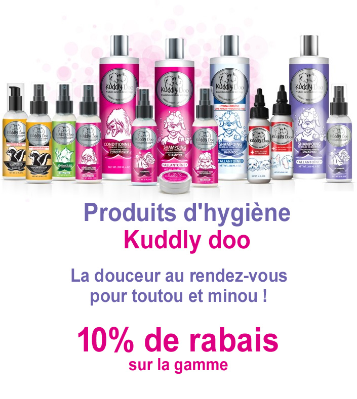 rabais Kuddly doo produits d'hygiene pour animaux